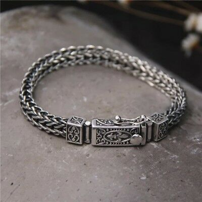Solid 925 Sterling Silver Hallmarked Mens Chain Clasp Bracelet 19cm