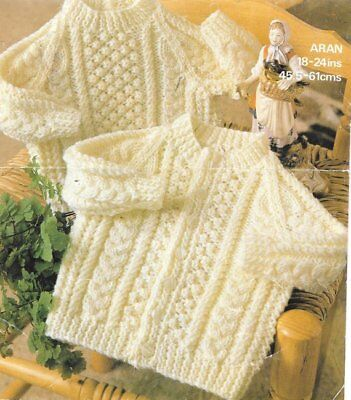 Aran Baby Knitting Pattern Children CARDIGAN Jumper Cables copy 8 Ply