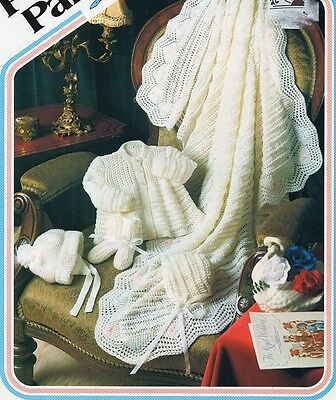 Vintage Baby Knitting Pattern Layette Includes Shawl in 4 Ply