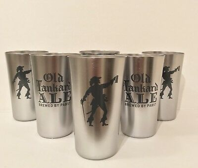 Pabst Old Tankard Ale Set of (6) 16 oz Aluminum Glasses Cups - Brand New In Box!