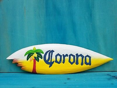 "Corona Beer Surf Board 20"" Wood Hawaiian Decor Shark Tropical Beach Man Cave"