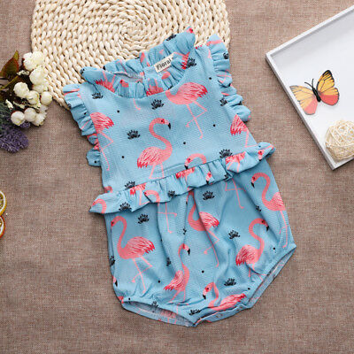 Flamingo Newborn Baby Girl Cotton Flower Romper Jumpsuit Bodysuit Outfit Clothes