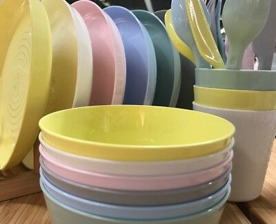 36 Pc Plastic Plates Bowls Cups Set Food Eating Camping Party Kids Travel Picnic