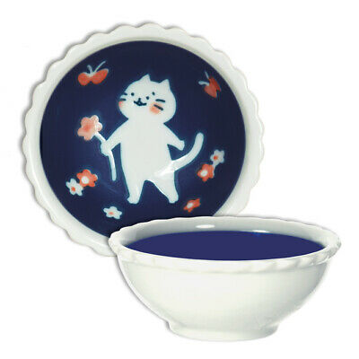 "Japanese Rice Soup Cereal Sauce Bowl 3.75""D Porcelain Cat Flowers Made in Japan"