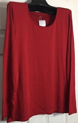 ba16464f9c0de Brand New J Jill women Plus size 4x Red Pima Cotton Scoop neck Knit top
