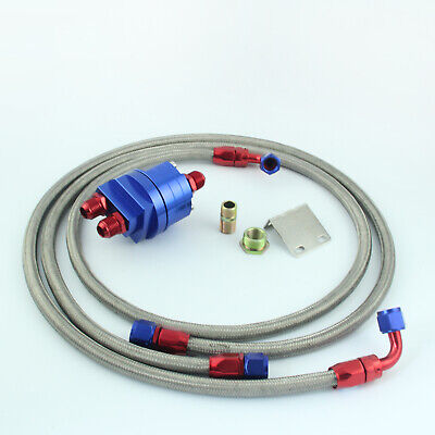 Universal AN8 Oil Filter Relocation Sandwich Adapter Blue Red + Hose Kits