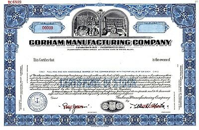 Gorham Manufacturing Company of Rhode Island SPECIMEN Stock Certificate