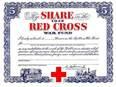 1945 My Share in the Red Cross War Fund Disaster Relief Contribution Certificate