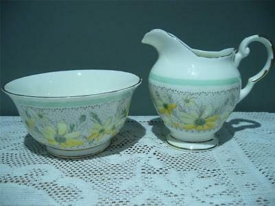 Plant Tuscan Bone China Sugar Bowl & Creamer - Daisies - Vintage - Gc