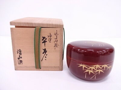 3599345: Japanese Tea Ceremony / Tame-Nuri Lacquered Flat Tea Caddy /  Bamboo Na