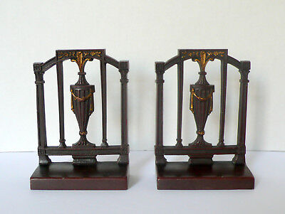 Art Deco Bradley & Hubbard Colonial Revival Metal Bookends Bronze Gold Patina