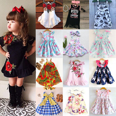 Newborn Kids Baby Girls Unicorn Dress Tutu Skirt Sundress Outfits Clothes 0-7T