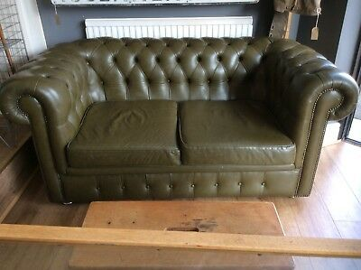 Traditional Vintage Olive Green Leather Chesterfield 2 Seater Sofa