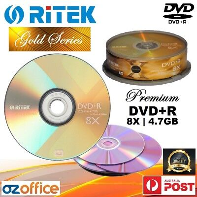 Ritek Gold Series DVD+R 8X 4.7GB Blank DVD +R Recordable DVD Spindle TDK Quality
