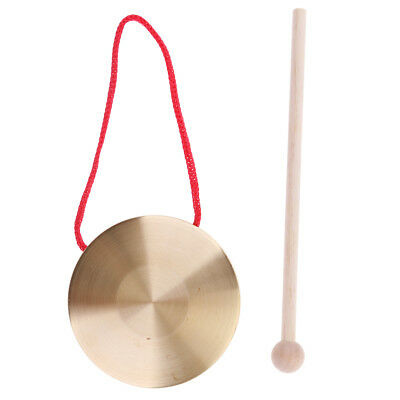 Metal Chinese Gong Cymbals w/ Wooden Stick Set Children Rhythm Toys
