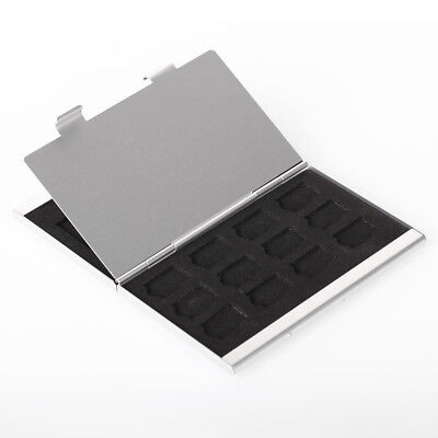 3SD+12TF Metal Aluminum Micro MMC Memory Card Storage Box Protecter Case Silver