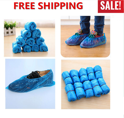 100PCS Plastic Disposable Shoe Covers Waterproof Non-slip Medical Boot Covers
