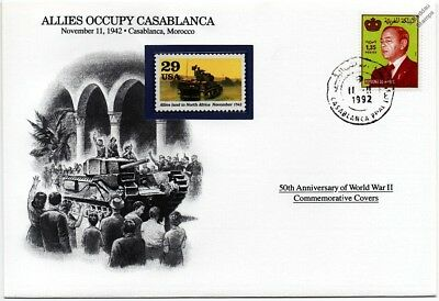 WWII 1942 Allies Occupy Casablanca / Tank Stamp Cover (Morocco / Danbury Mint)