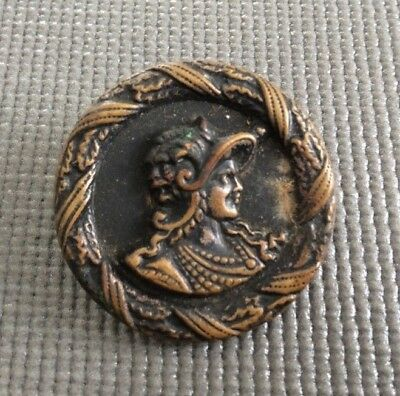 Antique Victorian Button Metal Button / Lady in Dress