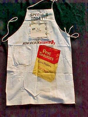"UNUSUAL 1930's  1940""s Post Toasties Grocery Store  Clerks Advertising Apron"