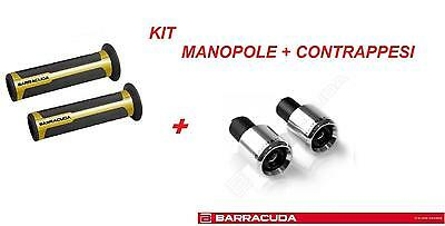 Barracuda Kit Manopole Racing Supergrip Oro + Contrappesi Argento Moto Cagiva
