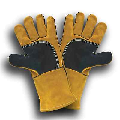"High Quality 14"" Double Palm Predator Welders Gauntlets Welding Gloves x 2 pairs"