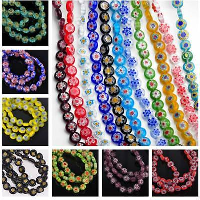 25/100pcs 8X3.5mm Round Millefiori Glass Loose Spacer Beads Jewelry Making