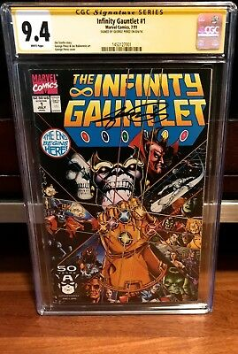 The Infinity Gauntlet #1 Cgc 9.4 Ss Signed George Perez Nm 1991 Thanos War L@@k