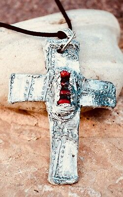 Pendant Amulet Cross Crucifix Byzantine Necklace Red Coral Silver Religious OOAK