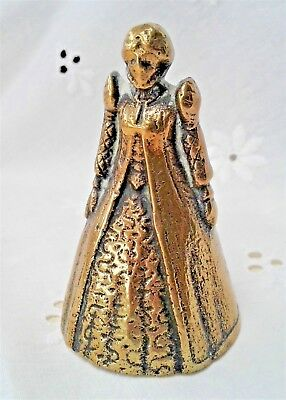 Solid Brass Bell - Small Elizabethan Lady With Feet Vintage