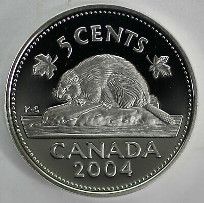 2004 Canada 5 Cents Proof Silver Nickel Heavy Cameo Coin