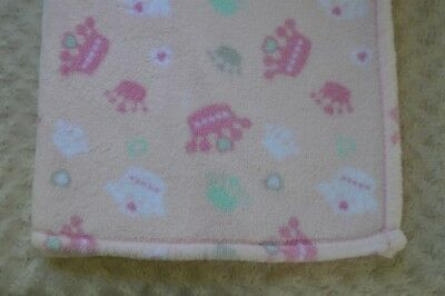 Kyle & Deena Crown Tiara Baby Blanket Pink Gray White Heart Plush Security Lovey