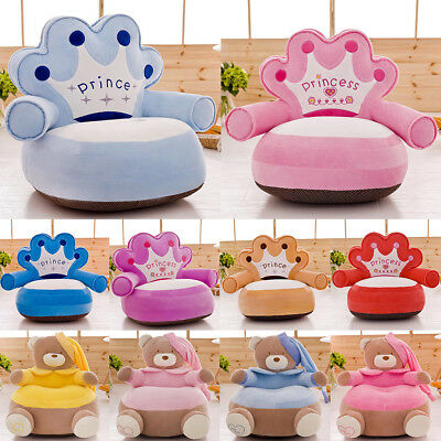 Cartoon Crown Bear Baby Chair Baby Bean Bag Sofa - Only Cover No Filling