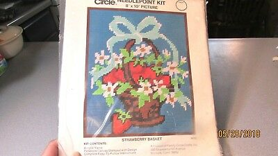 New In Package Vintage Family Circle Needlepoint Kit Strawberry Basket N103