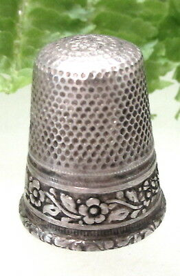 Lovely Antique 800 Silver Thimble With Band Of Flowers Size 7