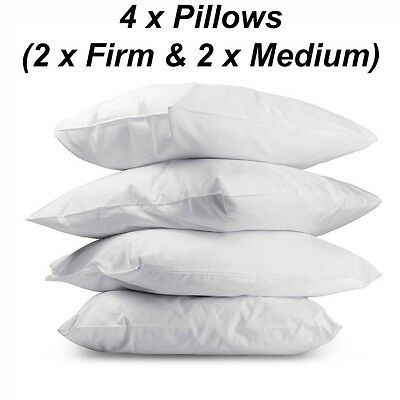 NEW Family 4 Pack Bed Pillows Firm Medium Cotton Cover Sleep Pillows Hotel Home