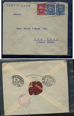 Bolivia   registered  cover to  US  1925    MS0131