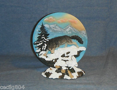 Wolf Chasing A Rabbit On A Snowy Ledge  Collector Plate