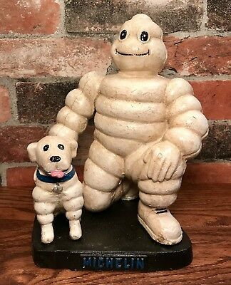 Michelin Man Bibendum with Dog, London 1930, Solid Cast Iron Figurine Doorstop