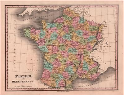 FRANCE, FINE ANTHONY FINLEY MAP, engraved & hand colored, antique original 1828