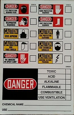 Vintage retro chemical hazard labels stickers from 1977 ~ labware ~ Made in USA