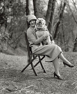 WOMAN WITH PET BULL DOG 1920s PHOTO
