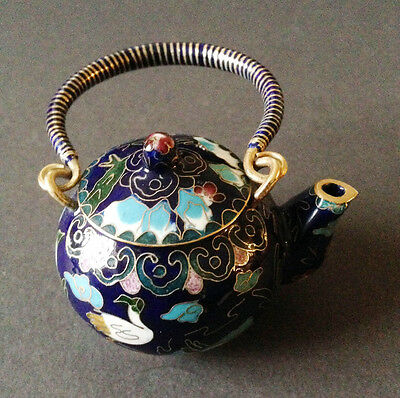Chinese Vintage Cloisonne Tea Pot Teapot Bronze Brass Copper Enamel Handmade