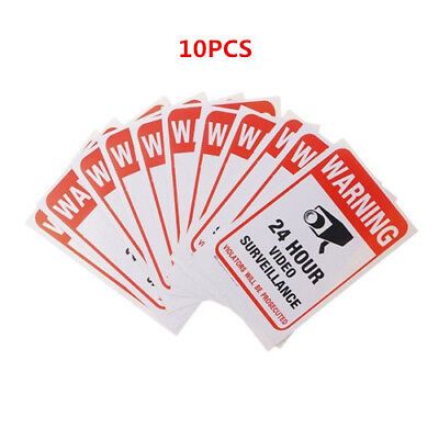 10pc Home CCTV Surveillance Security Camera Video Sticker Warning Decal Signs