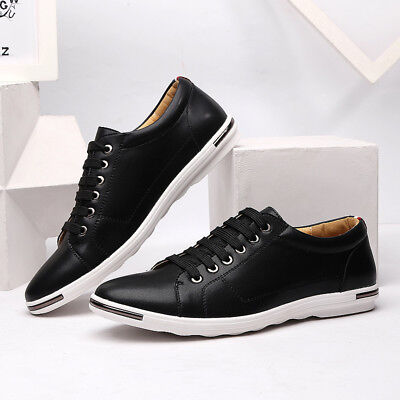Men's Genuine Leather Shoes  Lace up Smart Trainers Casual Shoes UK Size 5.5-10