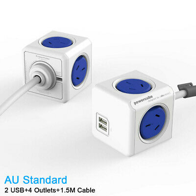 AU PowerCube Wall Mount Power Board Desk Charger 4 Outlets 2 USB 1.5M Cord Blue