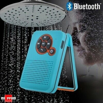 Waterproof Bluetooth Shower Speaker hand-free for iPhone Android - Blue