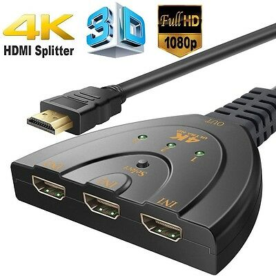 3 Port HDMI Multi Display Auto Switch Hub 4K Splitter 1080P Cable HD TV Adapter