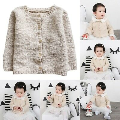 Toddler Kid Baby Cardigan Knit Winter Sweater Cotton Casual Soft Clothes Coats