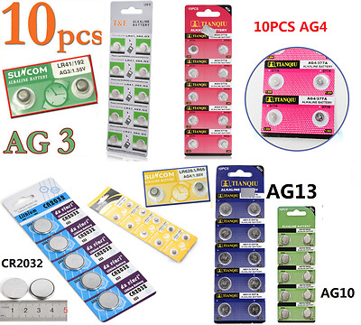 New AG4/AG13/CR2032/AG10 Button Coin Cell Pack Alkaline Batteries Salable